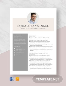 Client Services Account Manager Resume Template