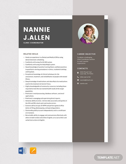 Clinic Coordinator Resume Template