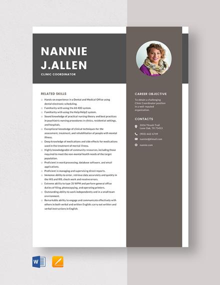 Clinic Coordinator Resume Template