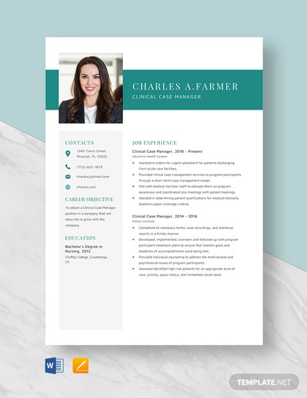 Clinical Case Manager Resume Template