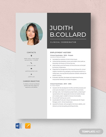 Clinical Coordinator Resume Template
