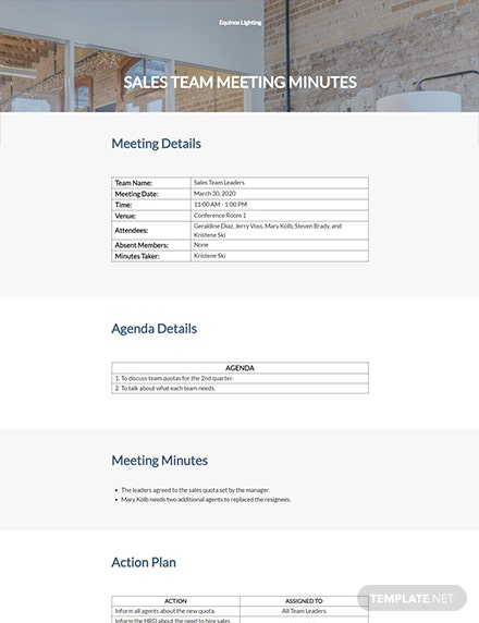Sales Team Meeting Minutes Template