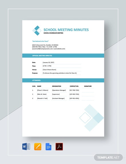 School Meeting Minutes Template