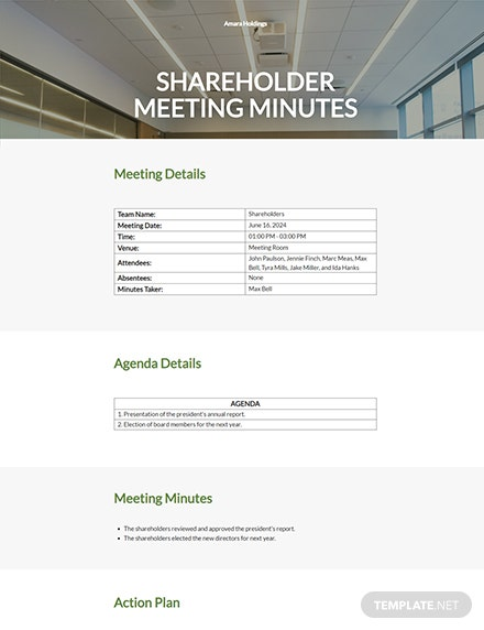 Shareholder Meeting Minutes Template