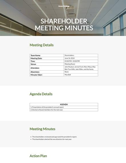 Shareholder Meeting Minutes Template