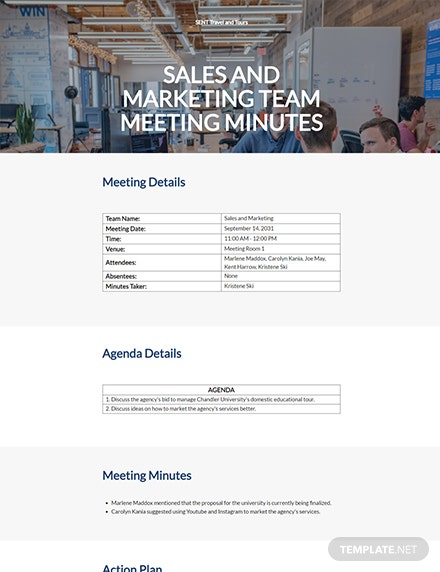 Sample Small Business Meeting Minutes Template
