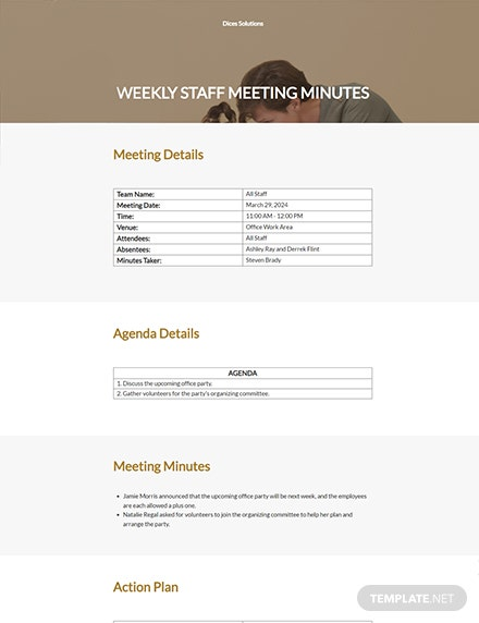 Weekly Staff Meeting Minutes Template