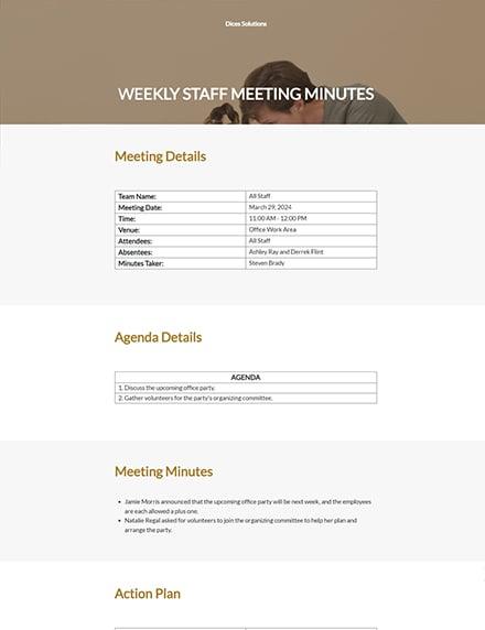 Weekly Staff Meeting Minutes