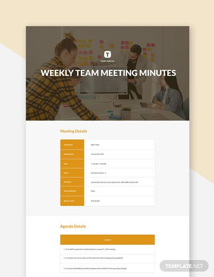 Weekly Team Meeting Minutes Template