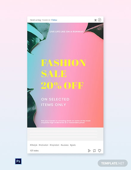 Free Basic Fashion Sale Tumblr Post Template