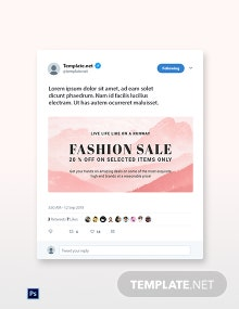 Free Blank Fashion Sale Twitter Post Template