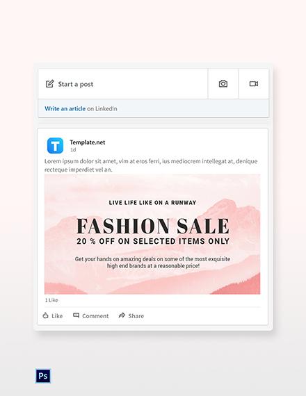 Free Blank Fashion Sale LinkedIn Blog Post Template