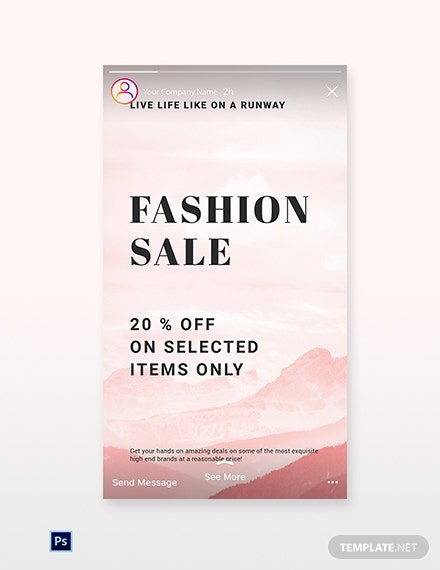 Free Blank Fashion Sale Instagram Story Template