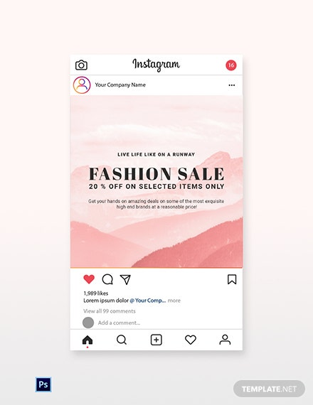 Free Blank Fashion Sale Instagram Post Template
