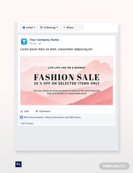Free Blank Fashion Sale Facebook Post Template