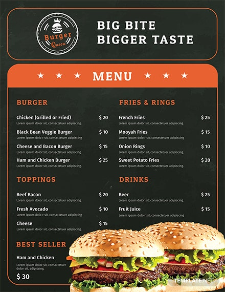 Free Editbale Burger Menu Template