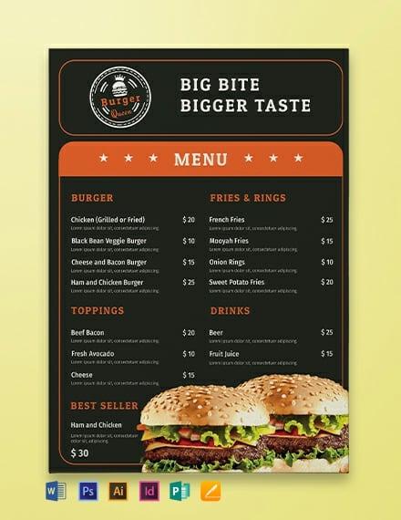 368  free menu templates