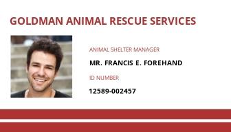 Animal Resue ID Card Template