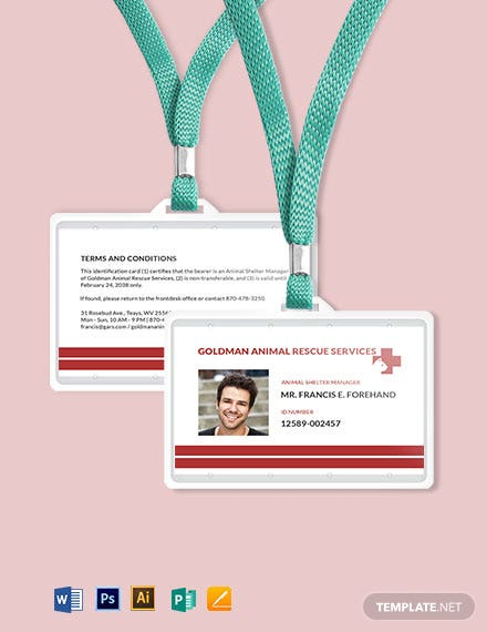 Animal Resue ID Card Template