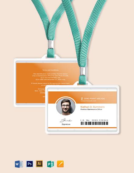 Arcade ID Card Template