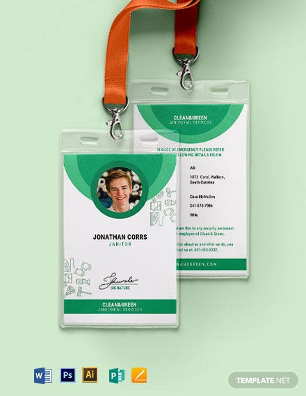 Janitor Service ID Card Template