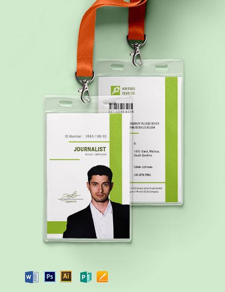 Journalist  ID Card Template