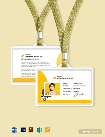 Manufacturing ID Card Template