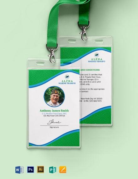 Marine ID Card Template