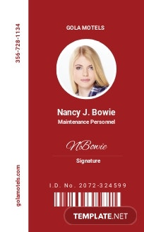 Motels ID Card Template