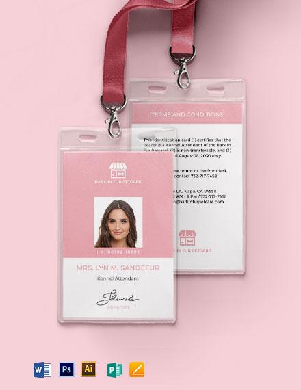 Pet Boarding ID Card Template