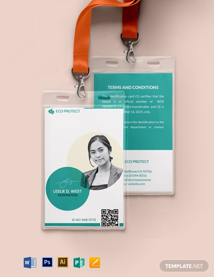 Printable Non-Profit Organizations ID card format Template