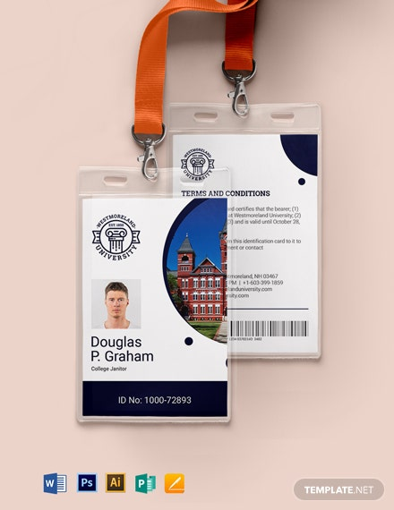 Private College ID Card Template