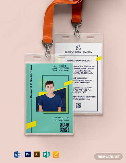 Private School ID Card Template