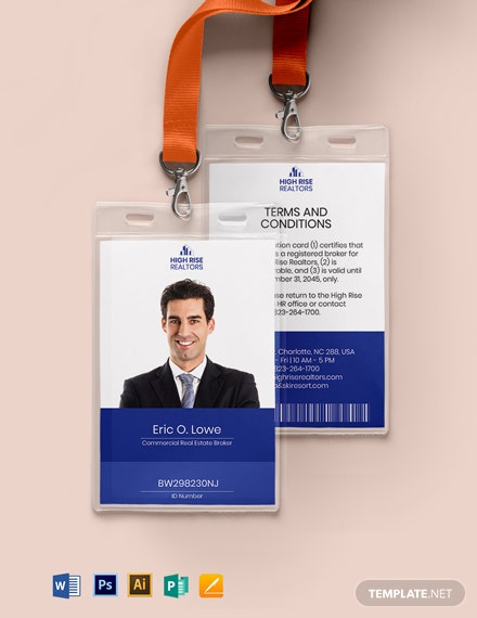 Real Estate Agent ID Card Template