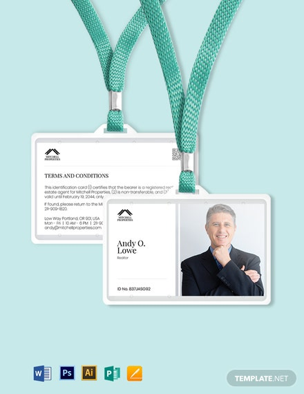 Real Estate Consultant ID Card Template