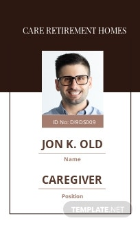 Retirement Homes ID Card Template