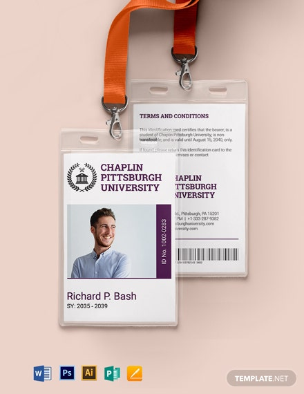 Sample College ID Card Template