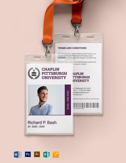 Sample College ID Card Template