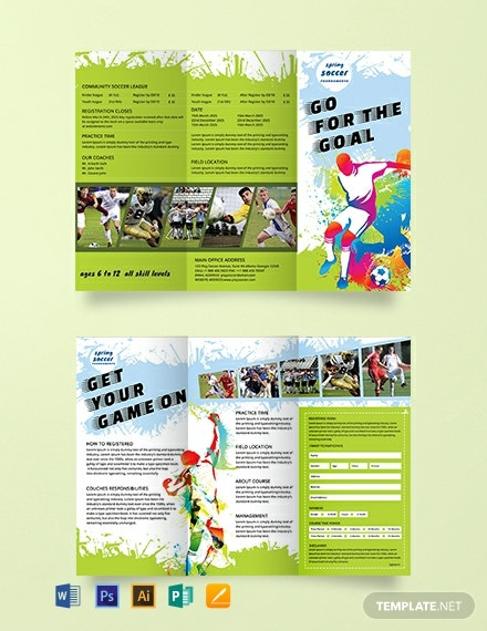 Free Soccer TriFold Brochure Template
