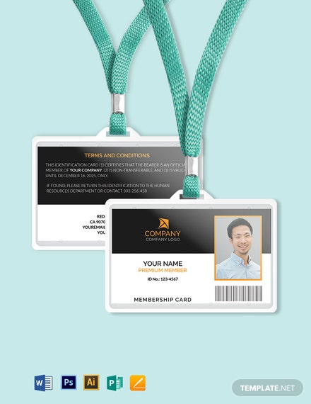 Sample Membership ID Card Template