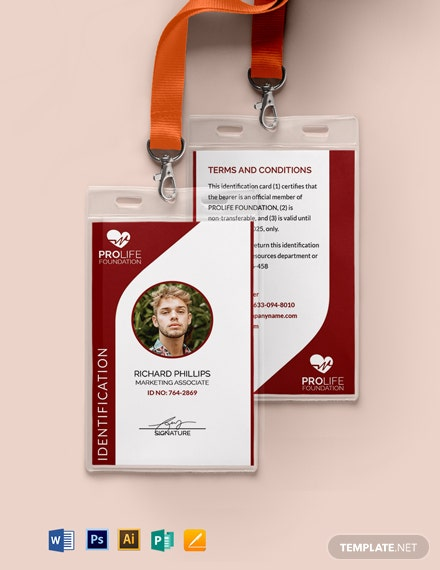 Sample Non-Profit Organizations ID Card Format Template