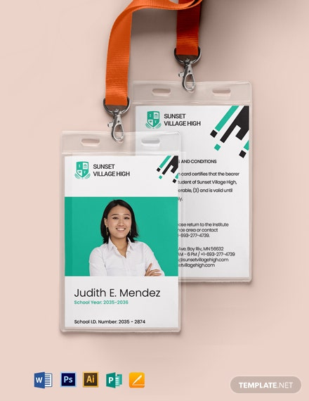 School ID Card Format Template