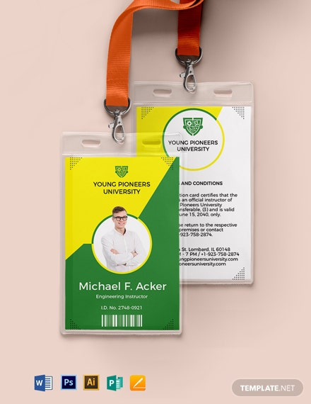 School Teacher ID Card Template
