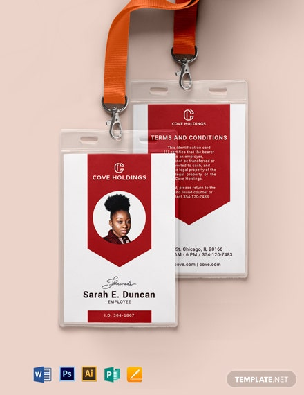 Printable Department ID Card Template