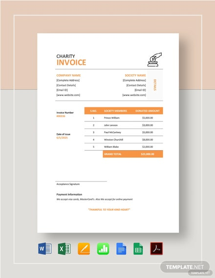 Charity Invoice Template