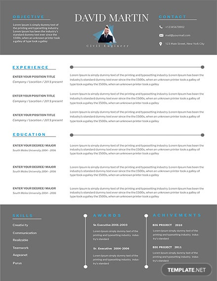Free Senior Civil Engineer Resume Template