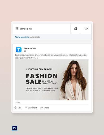 Free Grand Fashion Sale LinkedIn Blog Post Template