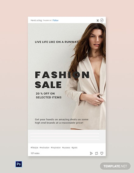Free Grand Fashion Sale Tumblr Post Template