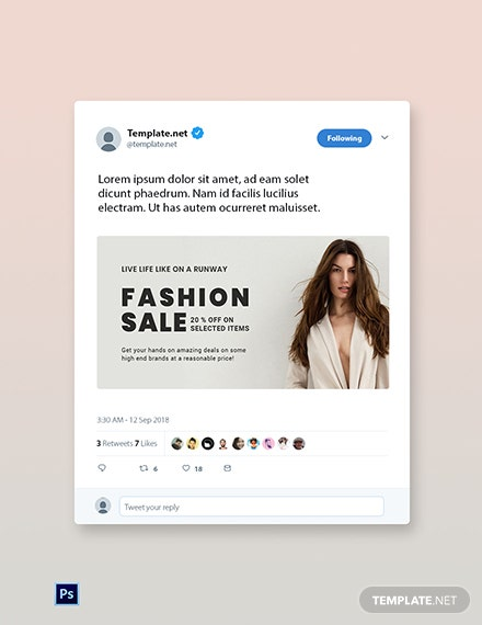 Free Grand Fashion Sale Twitter Post Template