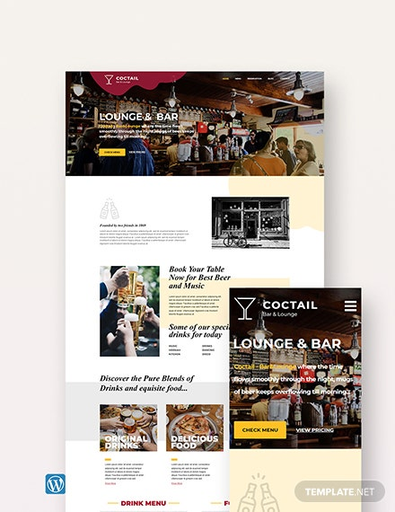 Bar & Lounge WordPress Theme/Template